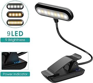 VGROUND Luz de Lectura con USB Recargable, 9 LED 9 Modos de Brillo, 360° Flexible y Portátil Lámpara de Lectura para Lectores Noche, Cama, Viaje