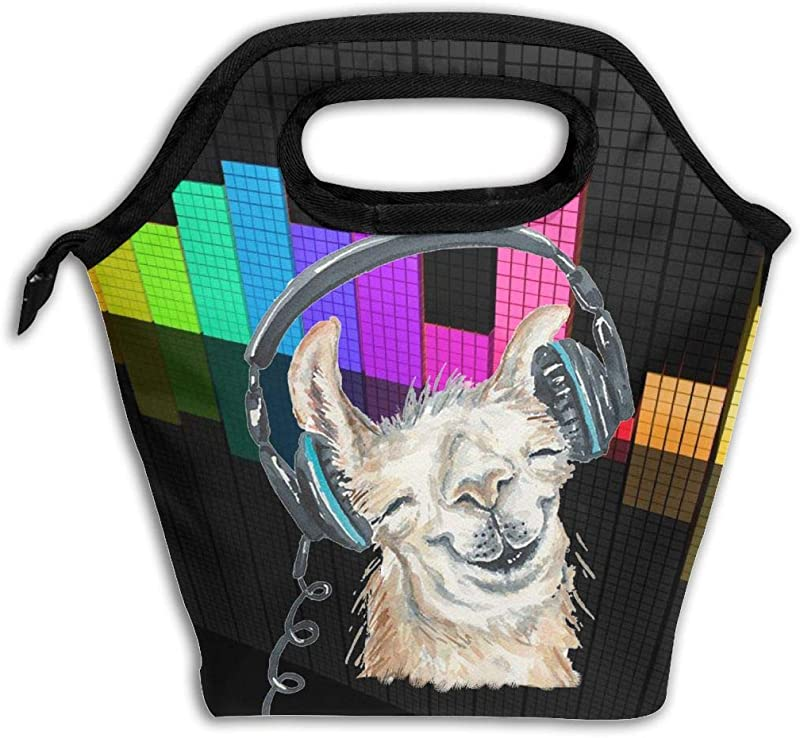 Insulated Lunch Bag Large The Llama Alpaca Is Listening To Music Lunch Tote Bag For Men Or Women