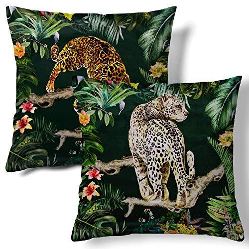ZQLXD Fundas de almohada de terciopelo con estampado de leopardo en contraste para dormitorio, sala de estar, sofá, casa de campo de 45,7 x 45,7 cm, 2 unidades (cinta 2)