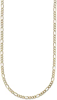18 Karat Solid Yellow Gold 1.3MM, 1.5MM, 2.2MM Figaro Link Chain Necklace - 3+1 Link - Made In Italy