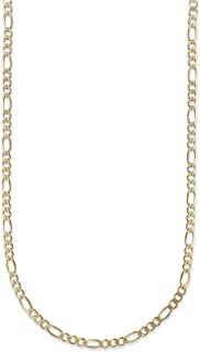 18K Yellow Gold 3.5mm Figaro 3+1 Link Chain Bracelet/Necklace - Multiple lengths available-Made in Italy