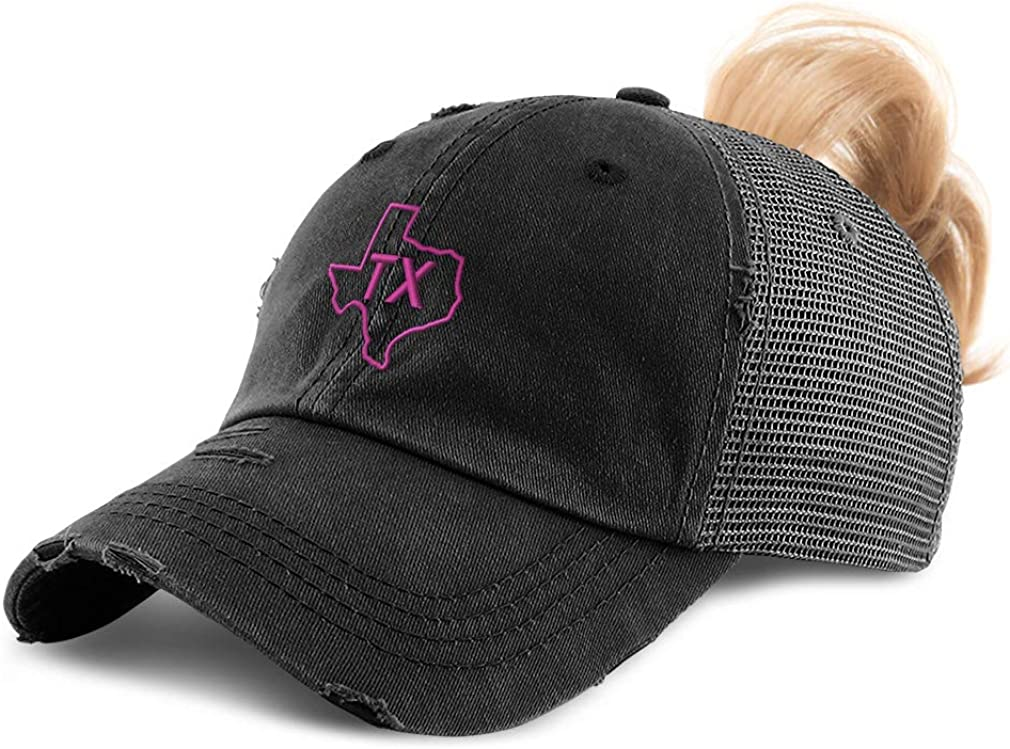 Custom Womens Ponytail Cap Texas State Map Tx A Embroidery Cotton Strap Closure