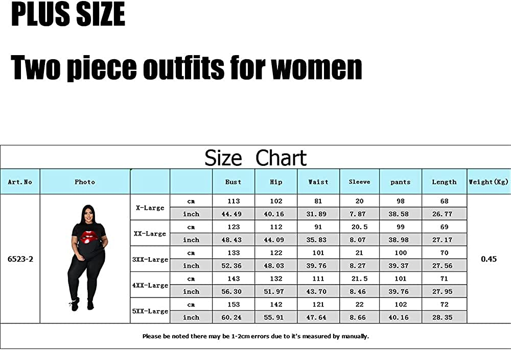 PINSV Plus Size Two Piece Outfits for Women Summer Loungewear Casual Workout Sets