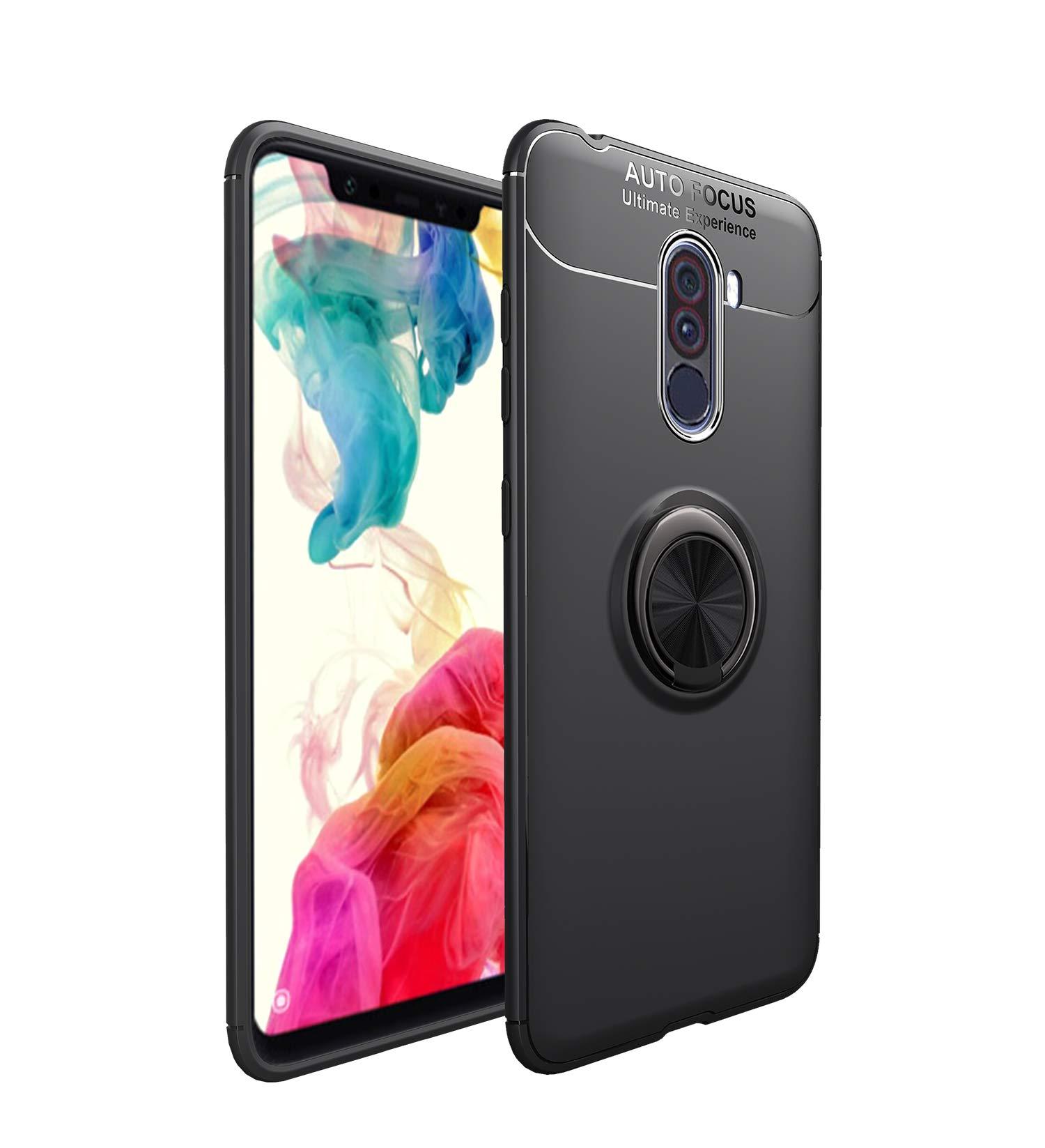 DAYNEW Funda para Xiaomi Pocophone F1,[Anti-Caída] 360 Grados rotación Anillo Stick teléfono Soporte,Función Kickstand Base magnética,para Xiaomi Pocophone F1-Negro: Amazon.es: Electrónica