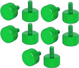 uxcell pc ハンドルネジ つまみねじ サムスクリュー グリーン アルミニウム合金 M3x6mm コンピュータPCグラフィックスカード用 10個入り