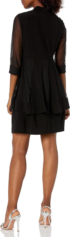 R&M Richards Women's 2 Piece Mesh Panel Beaded Neck Jacket Dress, Black, 6