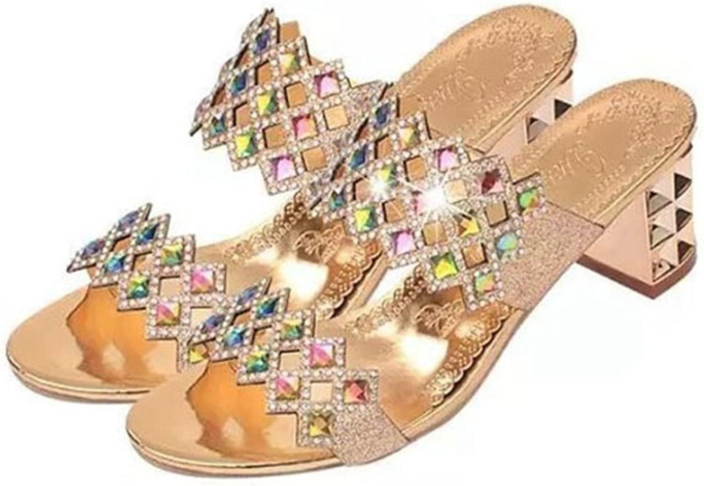 GIY Womens Fashion Bling Block Chunky Heels Sandals Open Toe Slip On Outdoor Dress shoes Slide