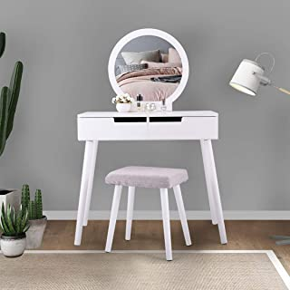 Dressing Desk Vanity Makeup Table Jewelry Storage Dresser Bedroom Table in White Finish
