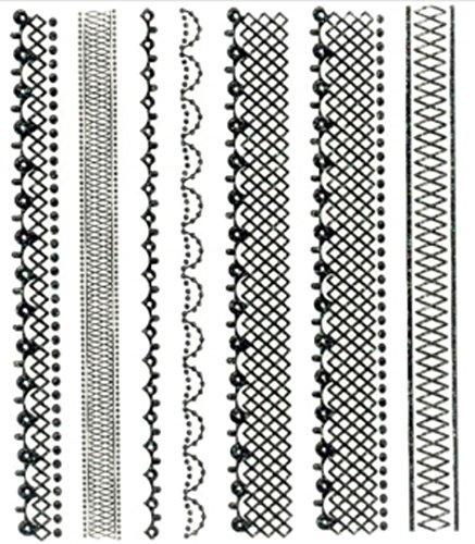 CLUB MODE Nail Art Scrapbooking Stickers Autocollants pour Ongles: 7 Bandes Dentelle
