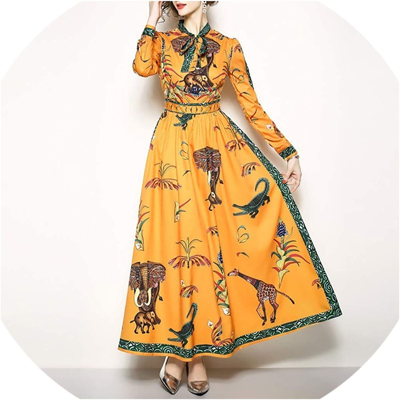 Cute Emma Summer Vintage Print Women Dress O Neck Patchwork Bow Long Sleeve High Waist Loose Ankle Length Dresses