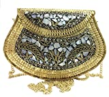 Golden Ethnic Clutch Regalo para Mujer Bolsa de Metal Bolsa de Metal Embrague Bolsos Hechos a Mano de Metal Mosaico de Piedra Bolsa, Bolso de Shell, Bolsa de Mano, Bolsa de Fiesta