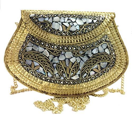 Golden Ethnic Clutch Regalo para Mujer Bolsa de Metal Bolsa de Metal...