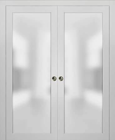 Lite Double Pocket Frosted Glass Doors 60 X 80 Planum 2102 White Silk Pocket Frame Trims Pulls Rail Hardware Bedroom Bathroom Solid Wooded Interior Sliding Door Opaque Glass Amazon Com
