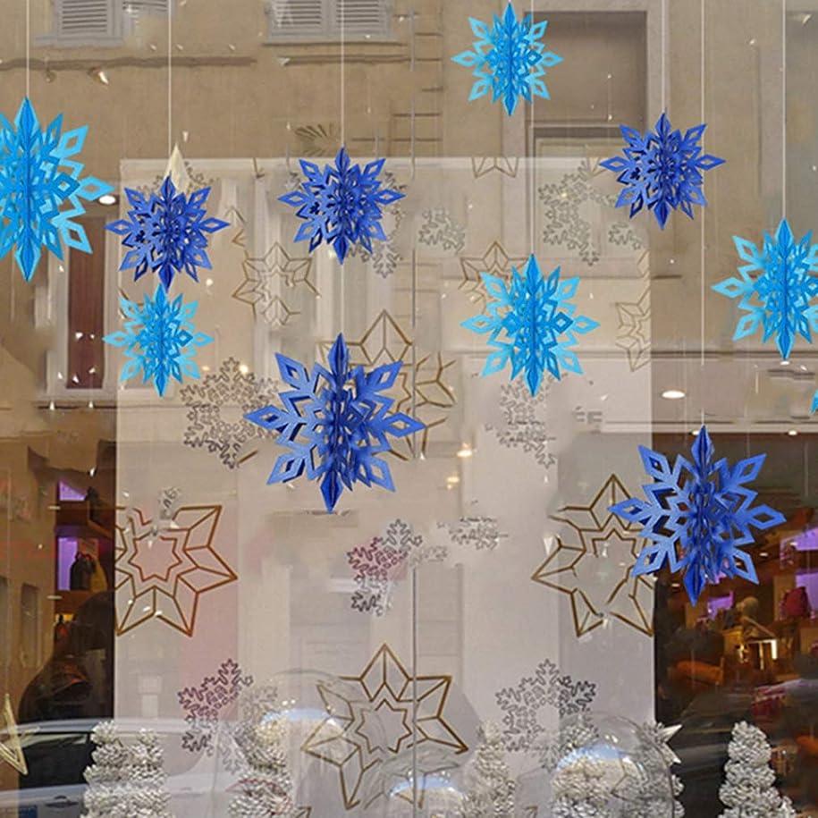ホーン誇りに思う不当Sevenfly 6個の3Dスノーフレークぶら下げガーランドバナー新年クリスマス冬パーティーデコレーション(ライトブルー)
