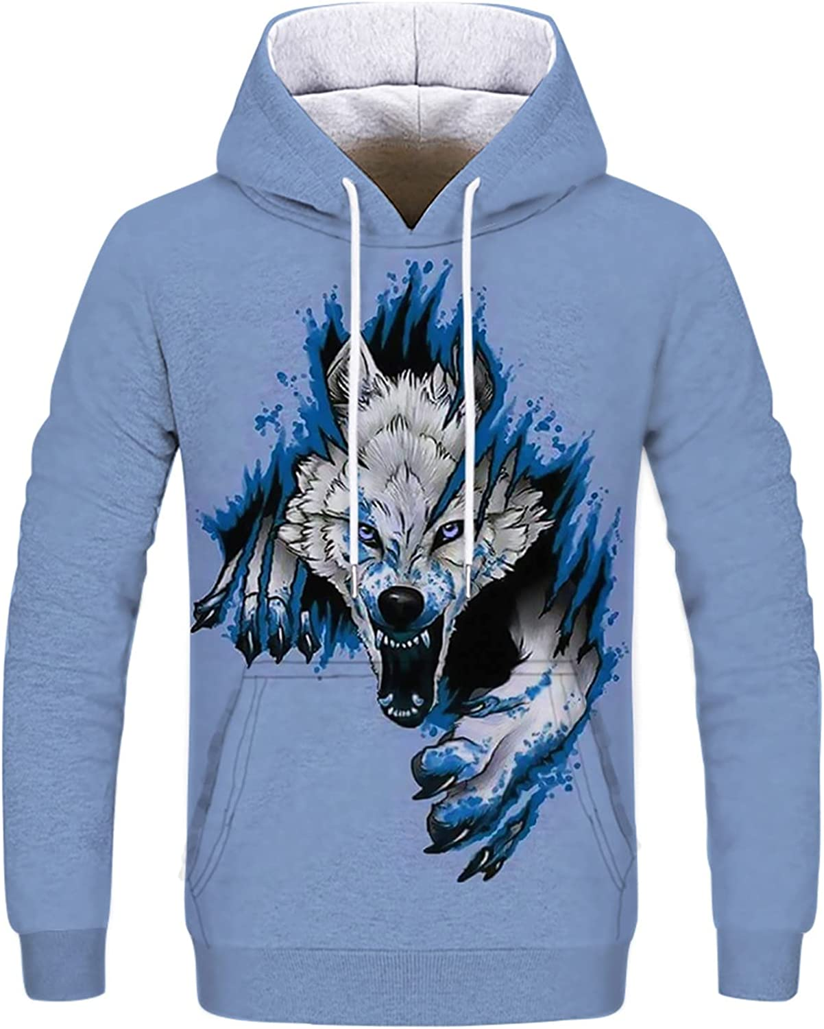 Mens Fashion 3D Wolf Pattern Printed Hoodies Blouse Winter Thick Sweatshirts Casual Long Sleeve Pullover Sweater