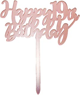 Happy 19th birthday cake topper, rose gold 19 years old birthday party decorations, girl birthday cake toppers