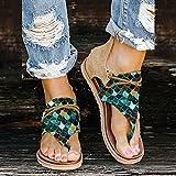 Mujer Sandalias Planas Verano Bohemia Transpirables con Estampado con Puntera Abierta Sandalia con Tiras, Casuales de Playa Elegantes Damas Zapatos para Citas diarias Vacaciones en la Playa