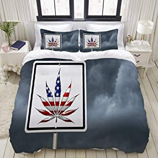 """Mokale Bedding Duvet Cover 3 Piece Set - Driving Under The Influence of Marijuana Cannabis - Decorative Hotel Dorm Comforter Cover with 2 Pollow Shams - King 104""""X90"""""""