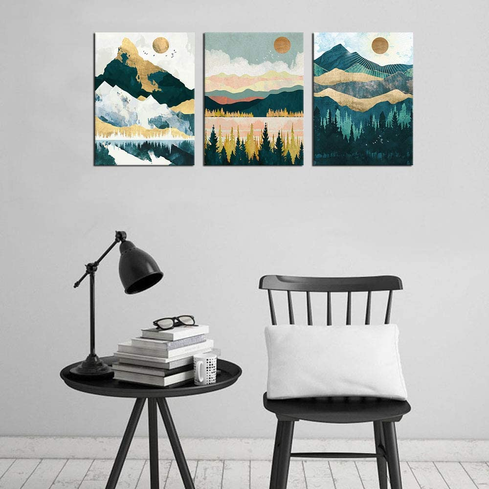 Mountain Forest Wall Art Nordic Style Abstract Canvas Pictures Contemporary  Wall Decor Canvas Artwork for Living Room Bedroom Home Office Decoration ...
