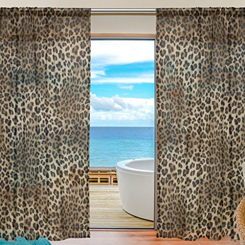 SEULIFE Window Sheer Curtain Animal Tiger Leopard Print Voile Curtain Drapes for Door Kitchen Living Room Bedroom 55x84 inches 2 Panels