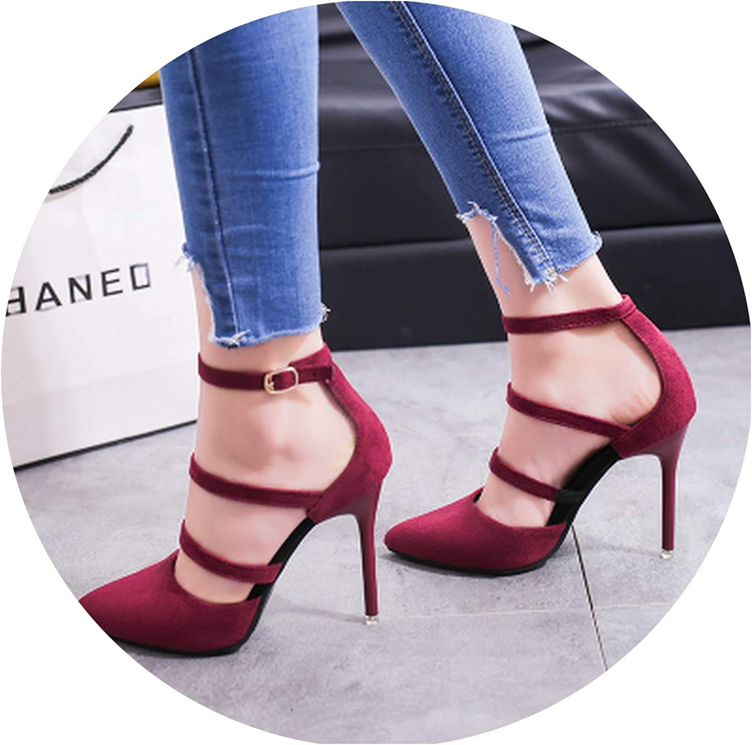 Women's shoes Fashion Sexy High Heels Pointed Suede Hollow Work shoes Simple Single shoes