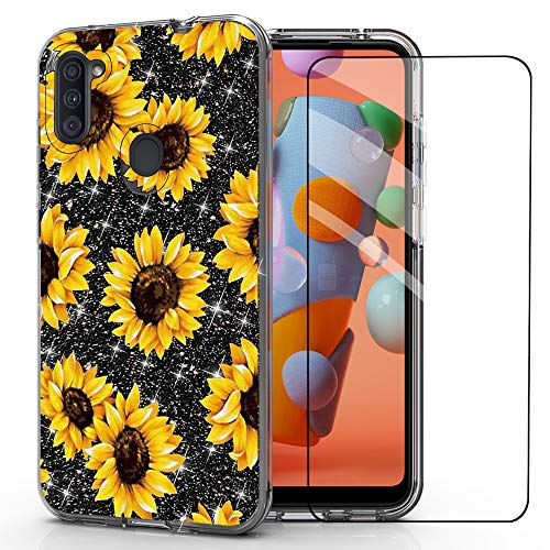 for Galaxy A11 Case,Samsung A11 case,DDTKZC Tempered Glass Protector Lustre Pattern-Sparkle 3 in 1 Clear Shockproof Case for Galaxy A115 (Yellow Sunflower)
