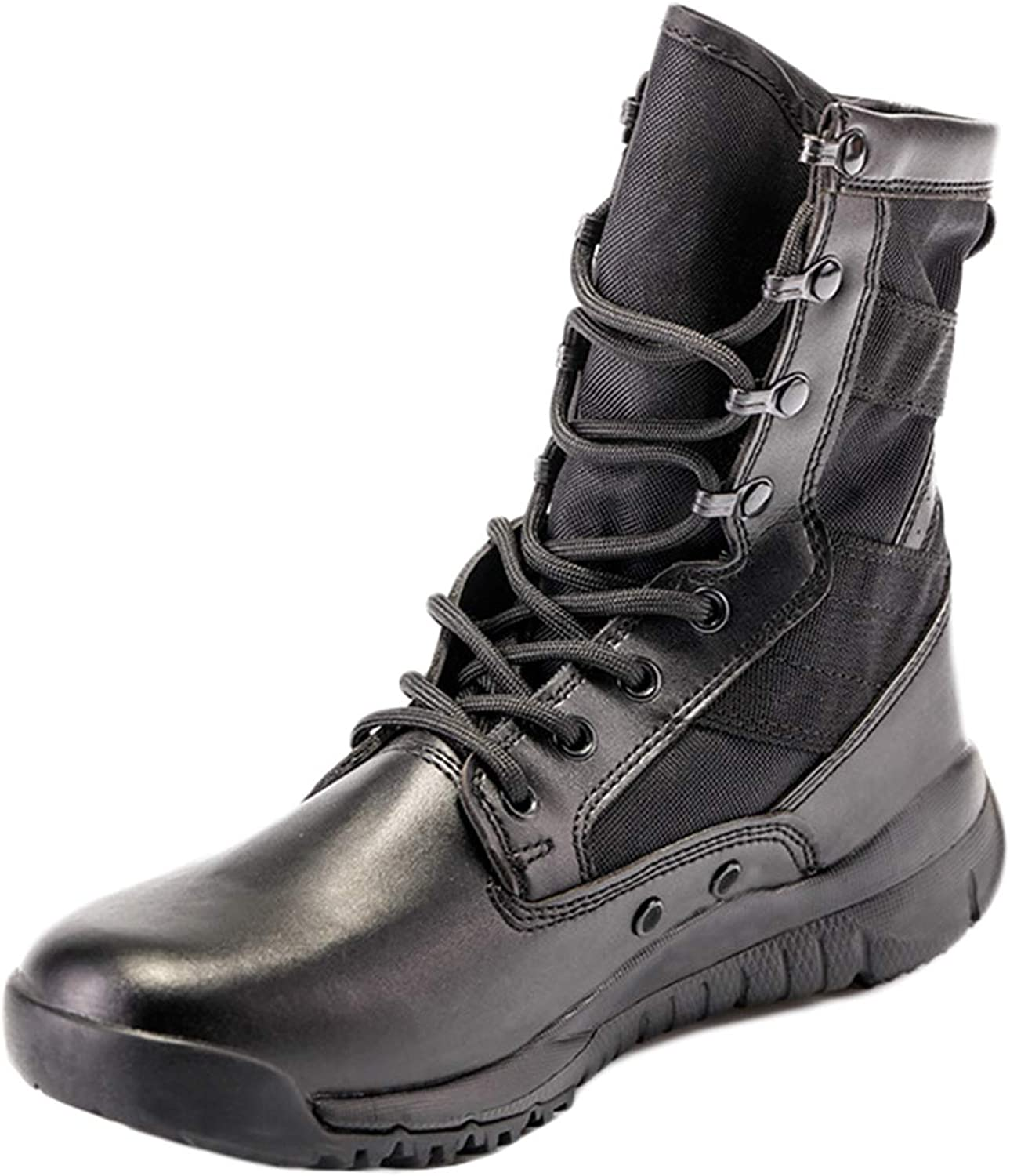 MERRYHE Military Boots Tactical Boots Desert Combat Training Boot Men Outdoor Lightweight Breathable Shock Absorption High-Top Black Sports shoes