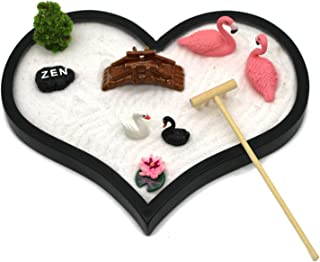 Desktop Mini Love Zen Garden - Office Desk Meditation Love Hear Sand Garden with Zen Stone , Rake , Miniature Swan, Bridg...