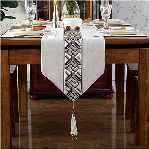 ventas en linea Caminos Caminos Caminos de mesa Chenille Table Runner Top Decor Mesa de Comedor Borlas Mantel Decoración Cena de Boda (Color   Beige, Talla   33  250cm)  popular
