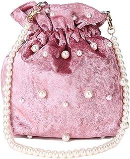 NYKKOLA Damen Retro Kordelzug Eimer Handtasche mit Perlenkette Samt Kuriertasche Schultertasche Geldbörse Crossbody Tote Bag