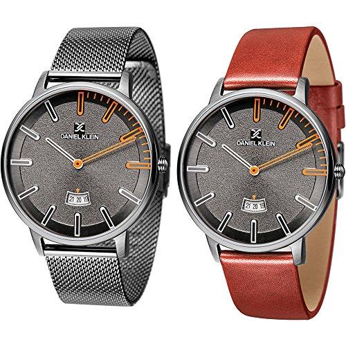 Daniel Klein - Set de reloj de pulsera para hombre, de malla, DK11289-7