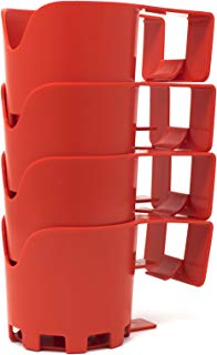 Storage Theory | Poolside Cup Holder | Designed for Above Ground Pools | Only Fits 2 inch or Less Round Top Bar | Red Color | 4 Pack