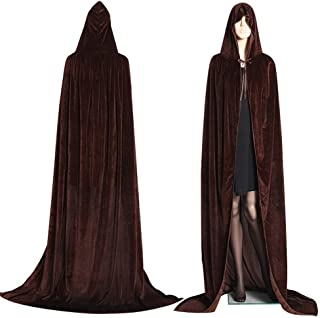 Party DIY Decorations - Gothic Hooded Stain Cloak Wicca Robe Witch Larp Cape Women Men Halloween Costumes Vampires Fancy Party Size S-M