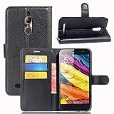 guran® custodia in pu pelle per zte nubia n1 lite smartphone avere portafoglio e funzione stent case flip cover caso copertura protettiva-nero