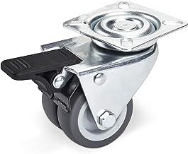 SOTECH Zwenkwiel met rem (Ø 50 mm, draagkracht 100 kg, aanschroefplaat: 60 x 60 mm) voor palletmeubels of als transportro...