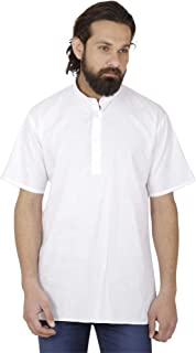 Retro Style Cotton Kurta Men Shirt Long Sleeve Stand Collar Yoga Dress XL Chest / 44 inches White