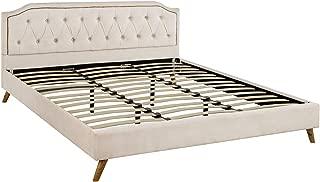 Casa Andrea Milano Modern Bed Frame, Tufted Velvet Headboard and Platform Bed (Beige, Full)