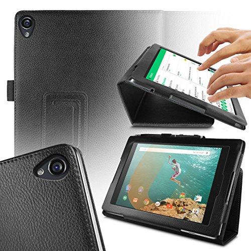 Orzly® - NEXUS 9 Tablet Hülle - Schutzhülle mit integrierter Stand - Hülle in SCHWARZ Kunstleder-Stil - Tablethülle / Fall / Tasche / Folio mit MAGNETISCHEN DECKEL & AUTOMATISCHE STANDBY SENSOR für AUTO SCHLAF / WACH - Entworfen von ORZLY® ausschließlich für Google / HTC NEXUS 9 Tablet (passend für 2014 version mit 9 ZOLL Display - Original Wi-Fi Modell und 3G / LTE Version)