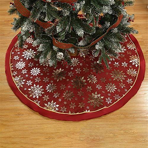 Meiju Weihnachtsbaum Decke,Weihnachtsbaum Rock Dekoration Weinachtsdeko Rund Weihnachtsbaumdecke Röcke Ornaments für Weihnachtsschmuck Baum Rock Deko Schutz (120 cm,Rot 2)
