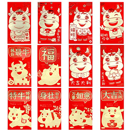 KissDate 36 PCS 12 Patterns 2021 Chinese Red Envelopes, Chinese New Year Ox...