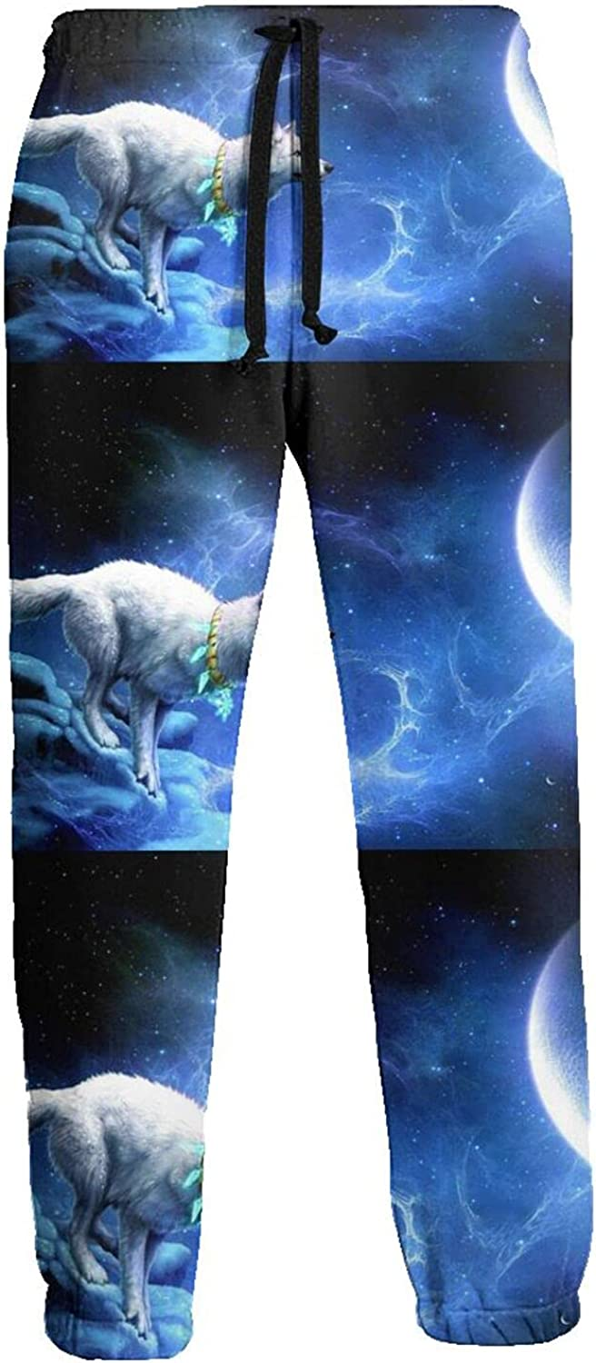 KAWAHATA Wolf Wallpapers Men's Pants with Pockets Tapered Athletic Sweatpants 3D Casual Active Sports Pants