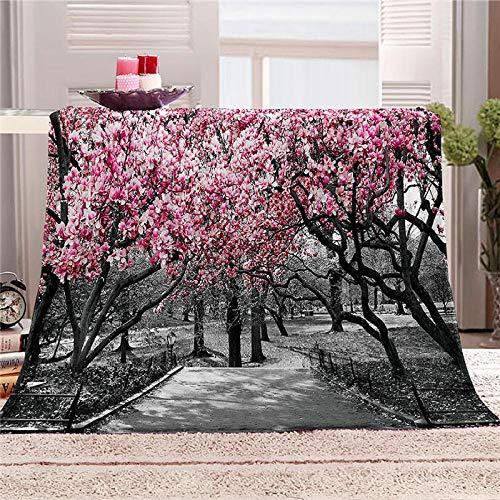 LHUTY Bedding Flanelldecke Kirschbaum 180x200 cm 3D-Druckdecke kuscheldecke,Sofadecke,Wolldecke,Bettlaken,Wärme und Isolierung Decke,Klimaanlage Decke für Wohn und Schlafräume