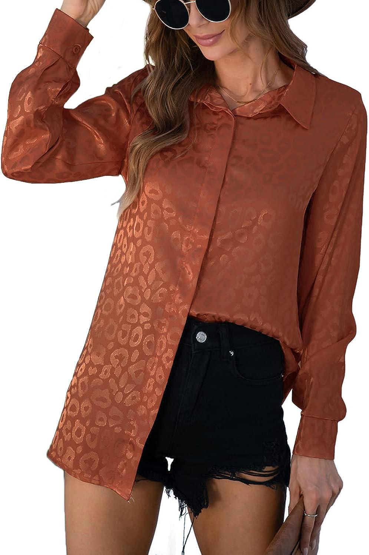 WAYMODE Women's Long Sleeve Button Down Collared V Neck Loose Tunic Blouse Top Shirt
