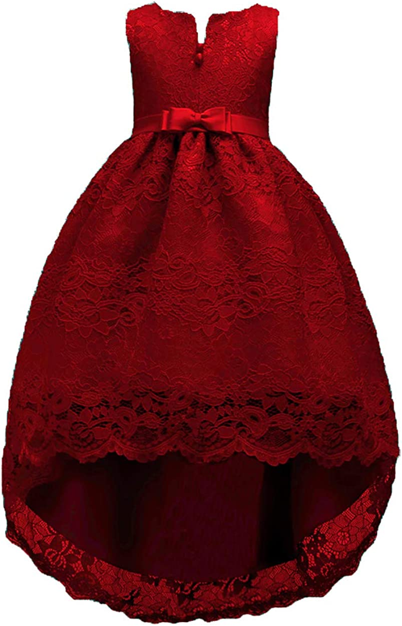 TYQQU Girl's Sleeveless V Neck High Low Dresses Bow Fold Embroidery Dress Mesh Ball Gown