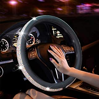 New Diamond Leather Steering Wheel Cover with Bling Bling Crystal Rhinestones, Universal Fit 15 Inch Anti-Slip Wheel Prote...