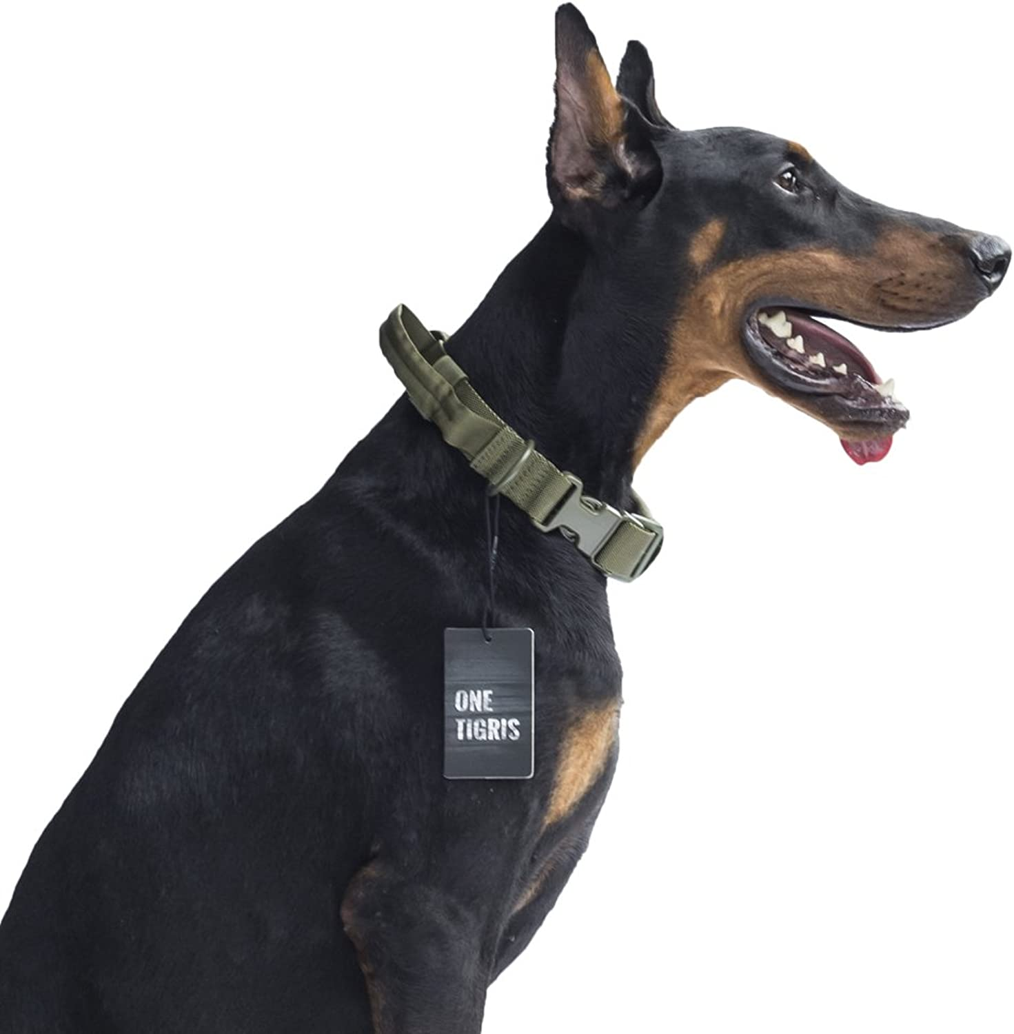 OneTigrey Tactical Dog Collar with Handle and UTXduraflex Buckles Adjustable Nylon Collar Fit Medium to Large Dog with 17''  24.2'' Neck Girth (OD Green)