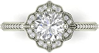 Forever One Moissanite Near Colorless & Diamond Halo Floral Style Engagement Ring in 14k White