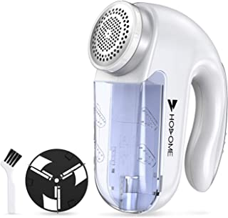 Fabric Shaver Defuzzer, Hosome Lint Balls Pills Fuzz Remover Electric Sweater Clothes Shaver with 2 Replaceable Stainless Steel Blades, Cleaning Brush, AC adapter for Clothing, Couch, Furniture, White