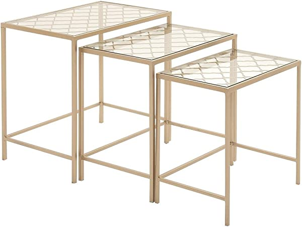 Deco 79 Metallic Gold Metal Glass Nesting Accent Tables With With Quatrefoil Grid Pattern Set Of 3 24 22 20