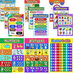12 Different wall posters: alphabet, numbers 1-10, numbers 1-100, days of the week, months, seasons, time, weather, opposites, colors, farm animals and shapes Features: made of 250 gsm cardstock, double side covered with high quality PET film for add...